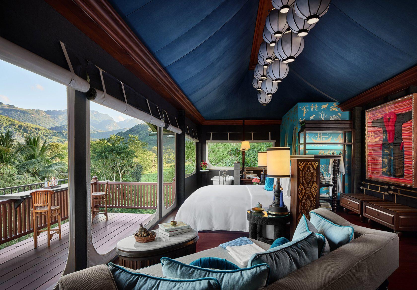 Rosewood Luang Prabang, Luxushotel Laos – Hilltop Tent Schlafbereich