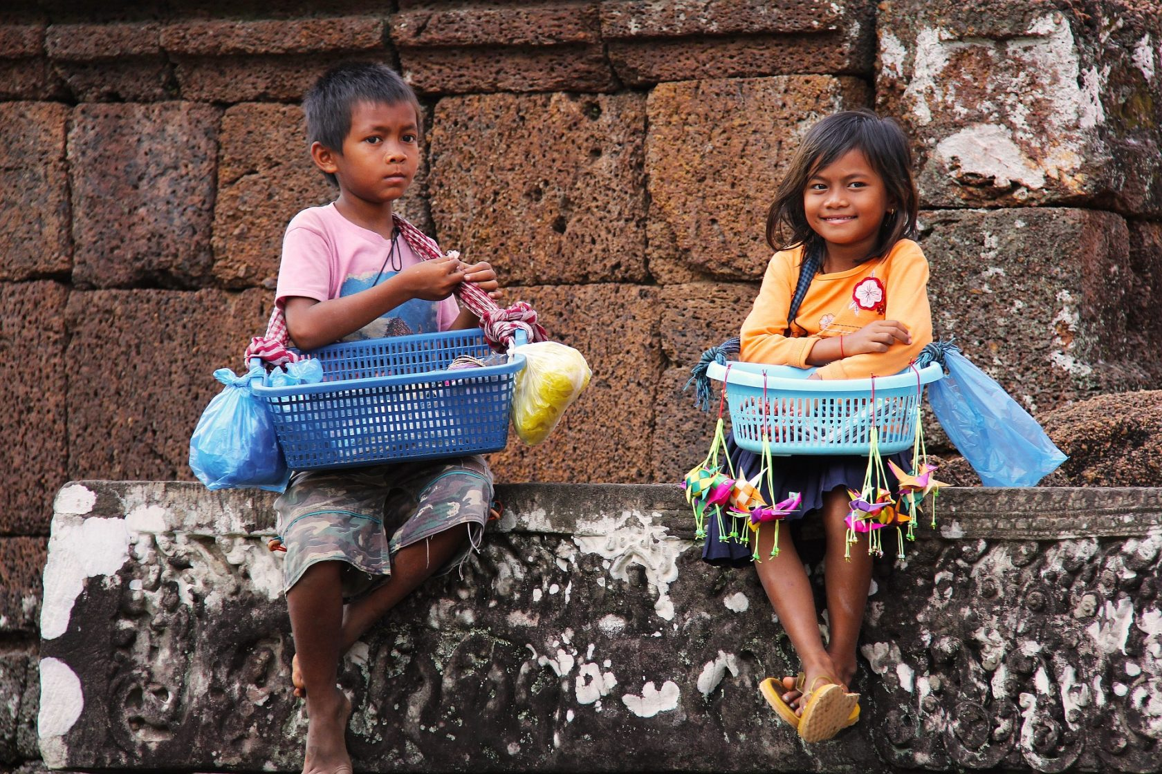 Privatreise, private Rundreise Kambodscha: Kinder in Angkor